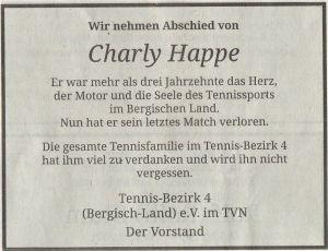 Charly Happe, langjähriger 1. Vorsitzender des Bezirks 4, ist verstorben 1
